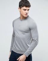 Armani Jeans Emboss Logo Sweatshirt Crewneck Regular Fit Lightweight In Grey