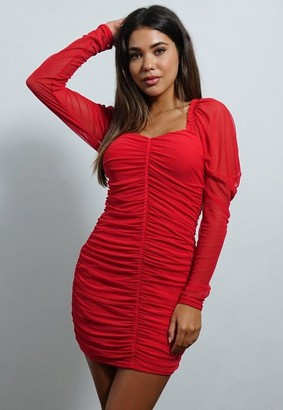 Missguided Petite Red Mesh Ruched Long Sleeve Mini Dress
