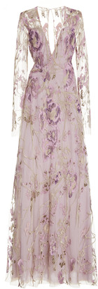 Naeem Khan Floral Metallic Lace Gown