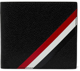 Thom Browne Striped Pebble-grain Leather Billfold Wallet - Black