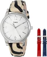 Timex Women's UG0103TB Zebra Patterned Leather Strap Watch Set