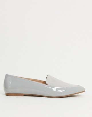 London Rebel pointed flat loafers in grey mix