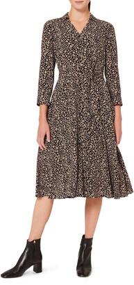 Hobbs Rosaline Button Front Long Sleeve A-Line Dress