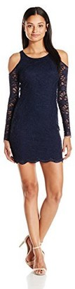 Jump Women's Scalloped Lace Cold Shoulder Dress