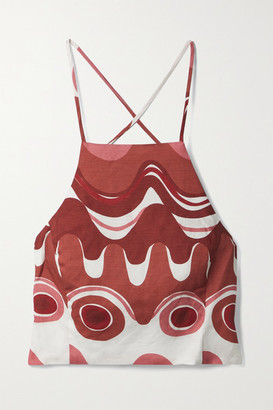 Cult Gaia Joey Open-back Printed Linen And Tencel Lyocell-blend Top - Red