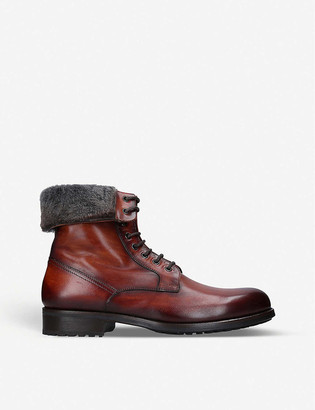 Magnanni Rommel faux fur-trim leather combat boots