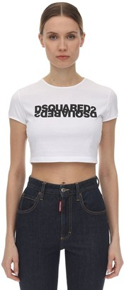 DSQUARED2 LOGO PRINTED COTTON JERSEY CROP TOP