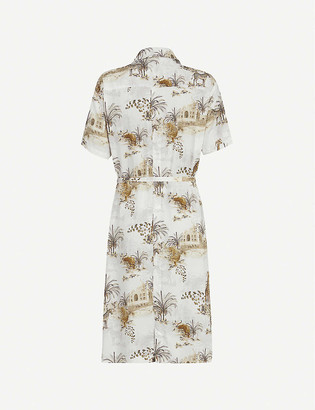 AllSaints Athea animal-print crepe midi shirt dress