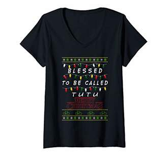 Womens Blessed to be TuTu - Grandma gift - Christmas V-Neck T-Shirt