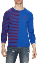 Love Moschino Wool Striped Side Crewneck Sweater