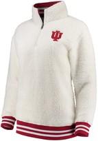 Unbranded Women's Cream Indiana Hoosiers Varsity Banded Sherpa Quarter-Zip Pullover Jacket