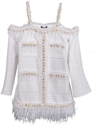 Balmain Cold Shoulder Chain Trim Dress