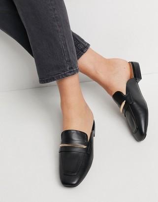 ASOS DESIGN Marla flat mules in black