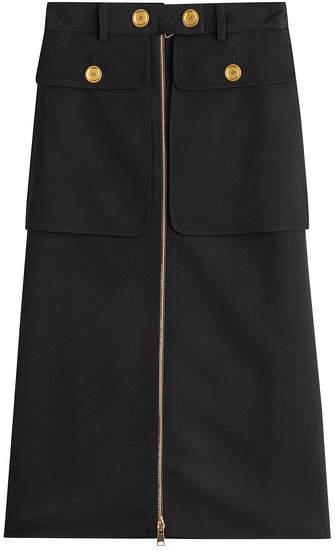 Alexander McQueen Zipped Virgin Wool Skirt with Silk