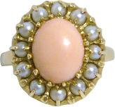 One Kings Lane Vintage 14K Gold, & Coral Cabochon Ring