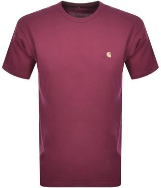Carhartt Chase Short Sleeved T Shirt Burgundy