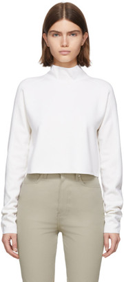 Helmut Lang White Wool Compact Turtleneck