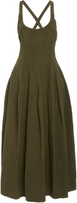 Brock Collection Pleated Linen Midi Dress