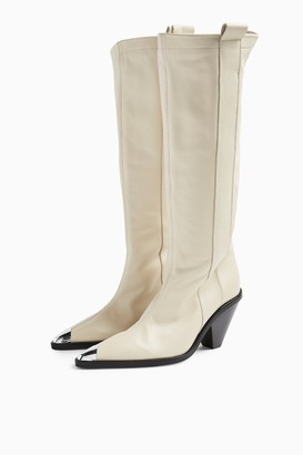 Topshop Womens Tulip Buttermilk Leather Point Knee High Boots - Buttermilk