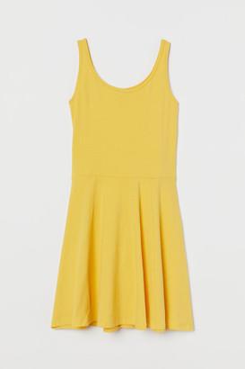 H&M Circle-skirt Jersey Dress - Yellow