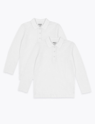 Marks and Spencer 2pk Girls' Pure Cotton School Polo Shirts