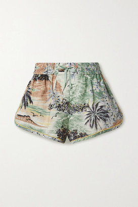 Zimmermann Juliette Printed Linen And Cotton-blend Voile Shorts - Gray green