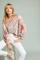 Meadow Rue Floral-Sleeve Velvet Top