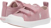 Polo Ralph Lauren Kingsley EZ (Toddler) (Blush Shimmer Canvas/Ivory Pony Player) Girl's Shoes