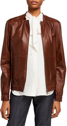 Lafayette 148 New York Rylan Zip Front Supple Napa Leather Jacket