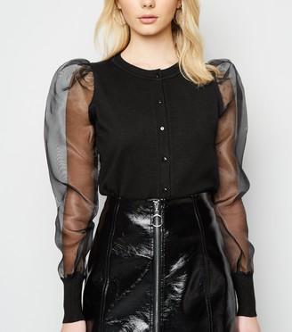 New Look Organza Puff Sleeve Cardigan
