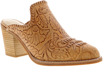 Sbicca Women's Mules TAN - Tan Floral-Embossed Tayshee Leather Mule - Women