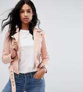 Vero Moda Petite Leather Look Belted Biker Jacket