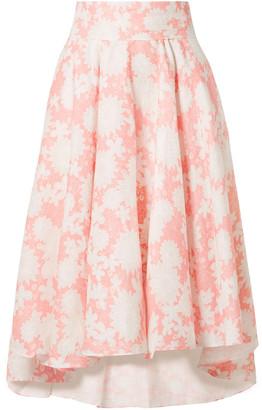 Miguelina Jackie Floral-print Linen Midi Skirt