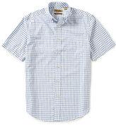 Roundtree & Yorke Gold Label Big & Tall Short-Sleeve Non-Iron Dobby Windowpane Button-Down Collar Sportshirt
