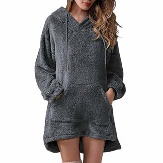 Zhuqi Women Hoodie Women Coats Casual Pure Color Fleece Fashion Large Size Loose Comfortable Women Hooded Sweater Autumn and Winter New Tether Long Women Hoodie A-Gray M