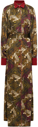 F.R.S For Restless Sleepers Febo Belted Hammered Satin-jacquard Maxi Shirt Dress