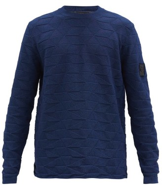 Stone Island Shadow Project Triangle-jacquard Cotton-jersey Sweater - Navy
