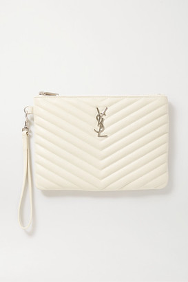 Saint Laurent Monogramme Quilted Textured-leather Pouch - White