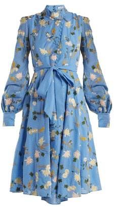 Erdem Neville Mariko Meadow-print Cotton Dress - Womens - Blue Multi