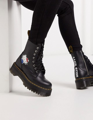 Dr. Martens x Hello Kitty Jadon chunky ankle boots in Black