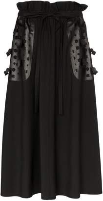 PASKAL clothes floral laser-cut midi skirt
