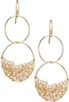 Panacea Orbital Golden Crystal Double-Drop Earrings, Ivory