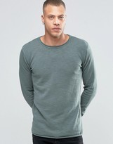 Solid Raw Edge Crew Neck Knit