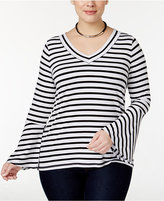 INC International Concepts Plus Size Bell-Sleeve Striped Top, Only at Macy's
