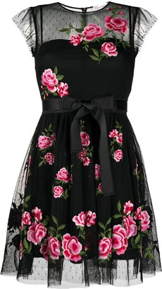 RED Valentino Rose-Embroidered Dress