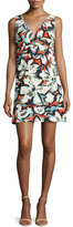 Milly Sleeveless V-Neck Gardenia-Print Mini Dress, Multi