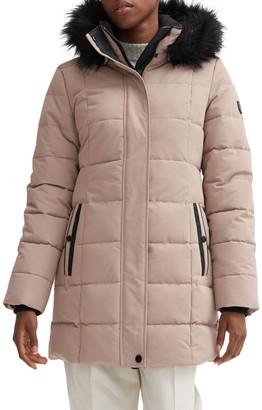 Noize Parka Coat with Faux Fur Hood Trim