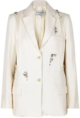 J.W.Anderson Ivory crystal-embellished wool blazer