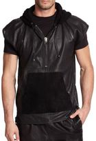 Giuseppe Zanotti Perforated Short-Sleeve Leather Hoodie