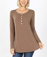 New ZENANA plus size olive Henley style long sleeve knit top
